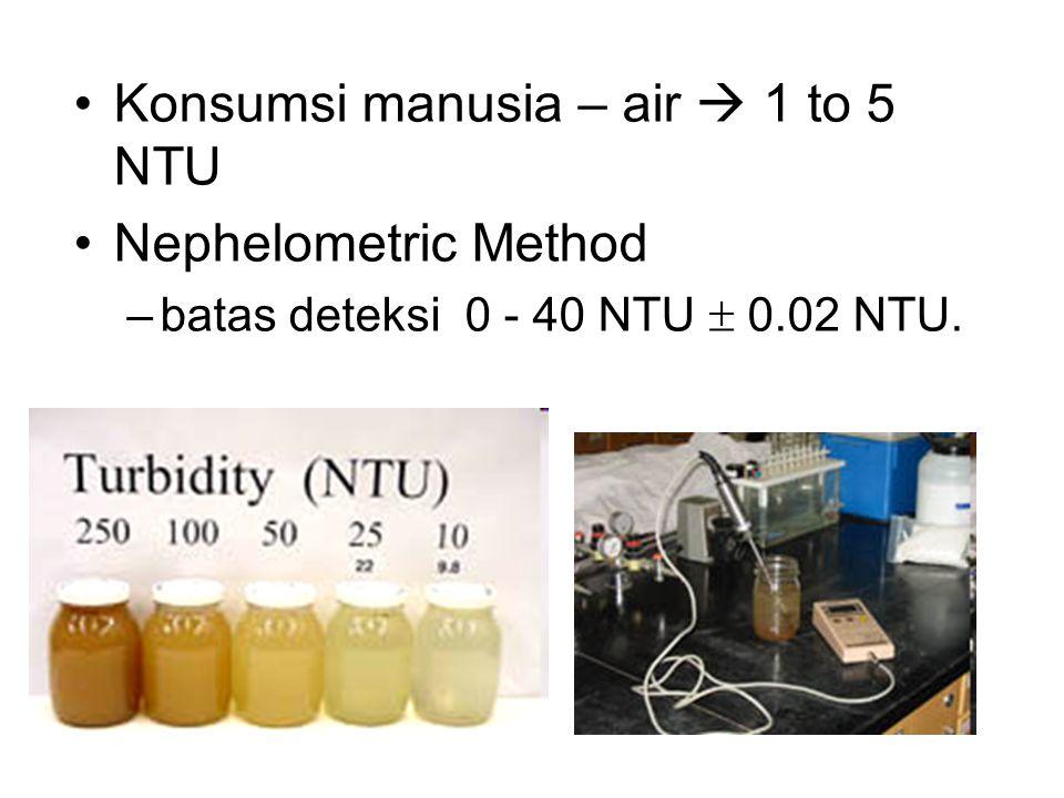 •Konsumsi manusia – air  1 to 5 NTU •Nephelometric Method –batas deteksi 0 - 40 NTU  0.02 NTU.