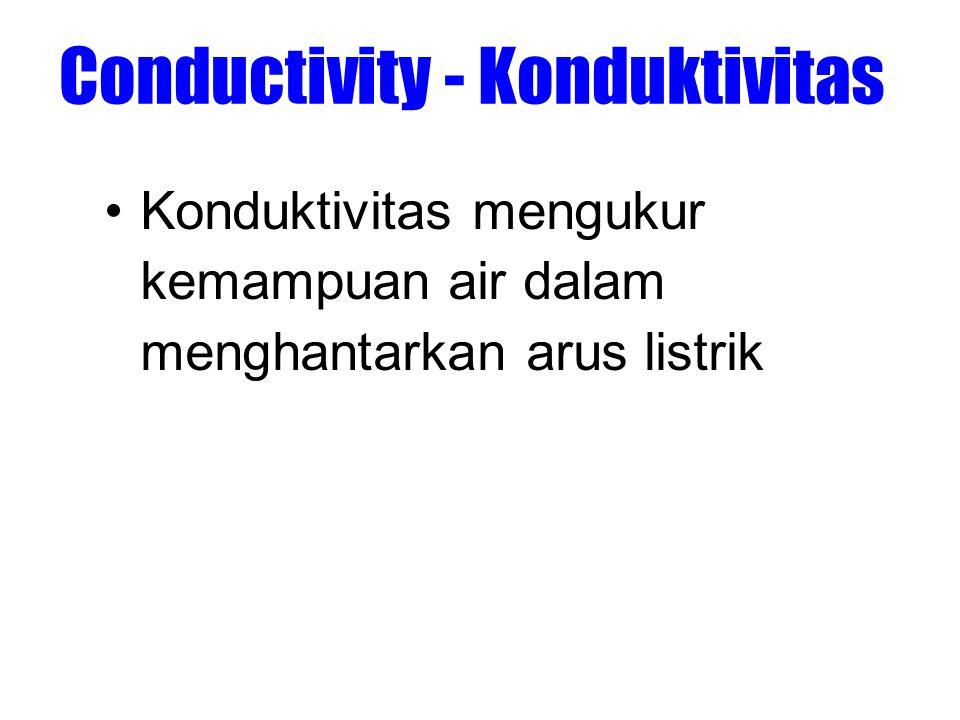 Conductivity - Konduktivitas •Konduktivitas mengukur kemampuan air dalam menghantarkan arus listrik