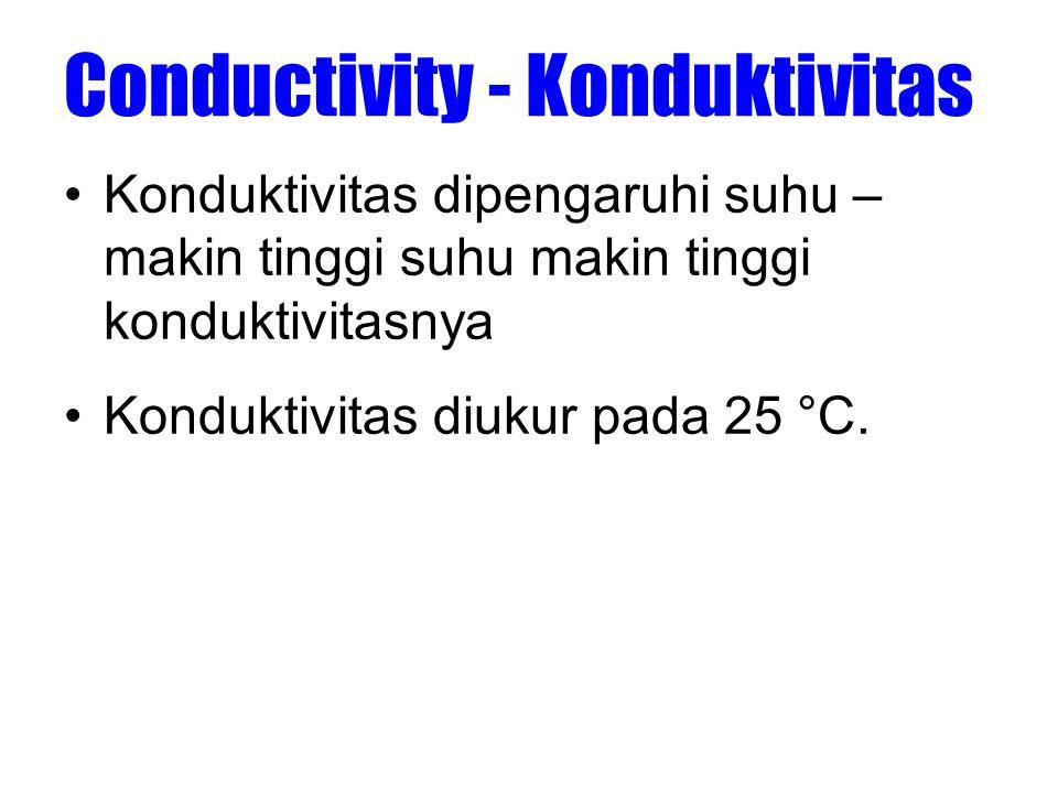 Conductivity - Konduktivitas •Konduktivitas dipengaruhi suhu – makin tinggi suhu makin tinggi konduktivitasnya •Konduktivitas diukur pada 25 °C.