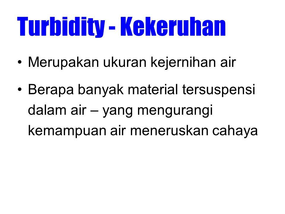 Turbidity - Kekeruhan •Material tersuspensi (berukuran 0.004 mm -1.0 mm) –misalnya: clay, silt, and sand, algae, plankton, microbes, dll.