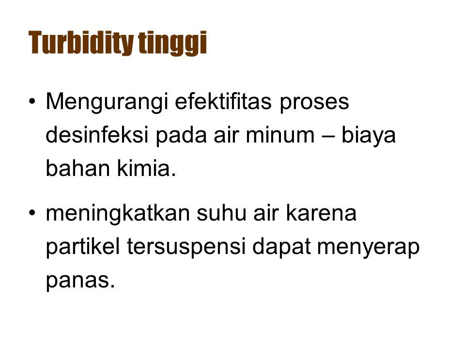 Turbidity tinggi •Mengurangi efektifitas proses desinfeksi pada air minum – biaya bahan kimia. •meningkatkan suhu air karena partikel tersuspensi dapa