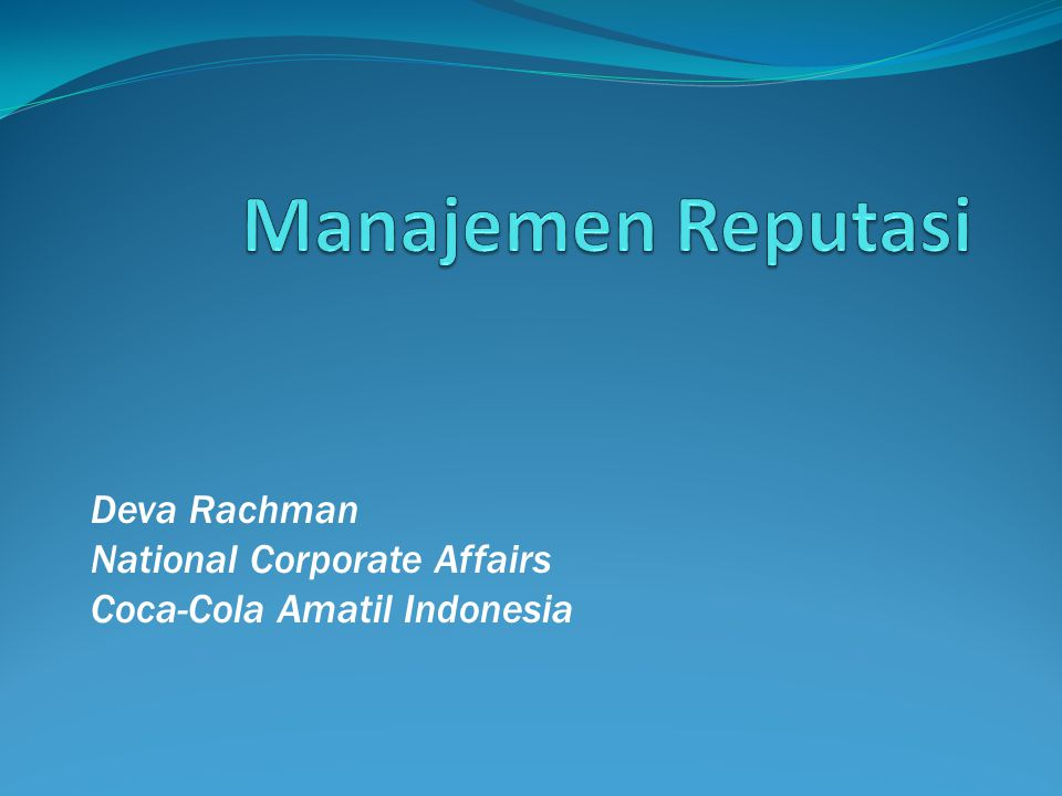 Deva Rachman National Corporate Affairs Coca-Cola Amatil Indonesia