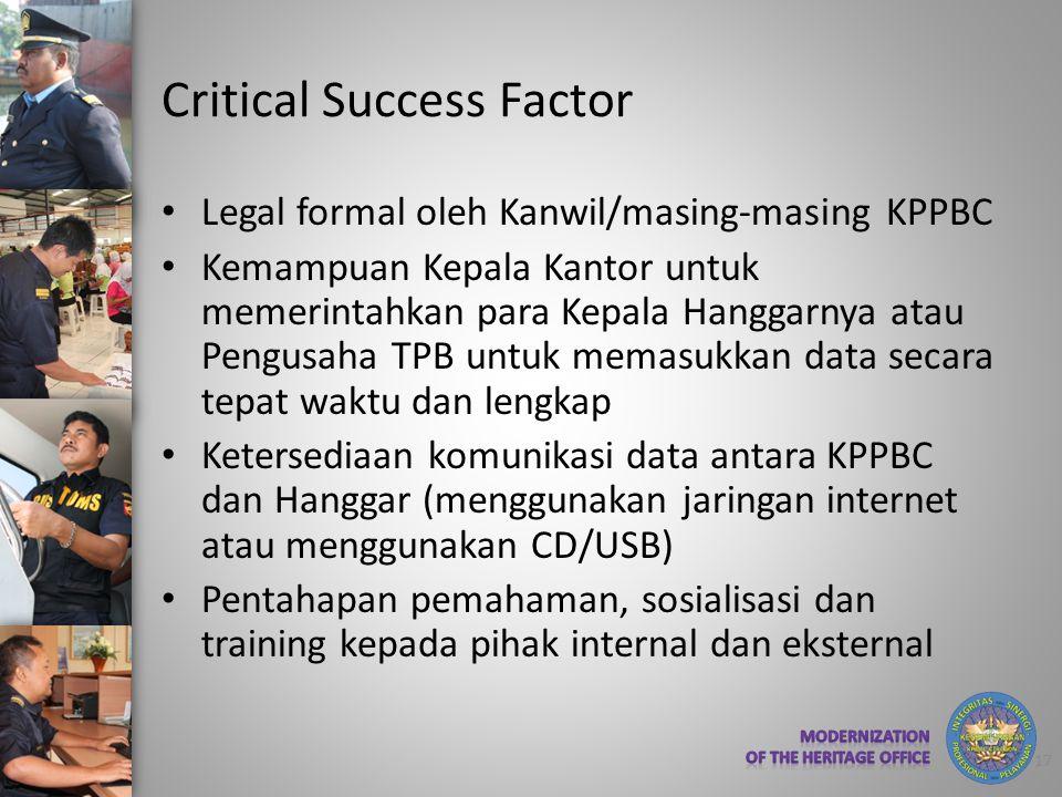 Critical Success Factor • Legal formal oleh Kanwil/masing-masing KPPBC • Kemampuan Kepala Kantor untuk memerintahkan para Kepala Hanggarnya atau Pengu