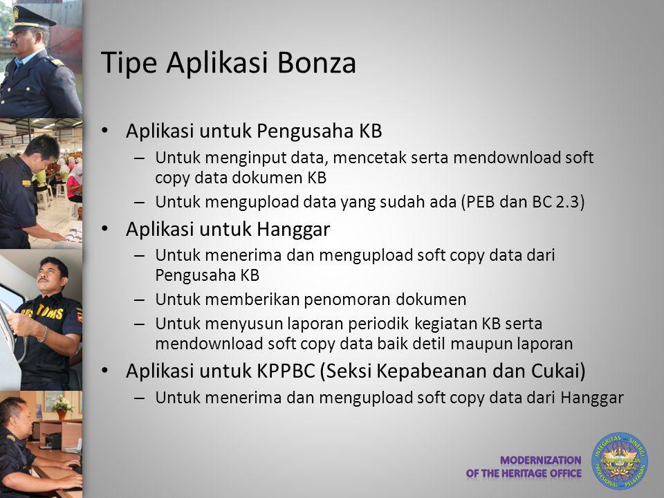 Tipe Aplikasi Bonza • Aplikasi untuk Pengusaha KB – Untuk menginput data, mencetak serta mendownload soft copy data dokumen KB – Untuk mengupload data