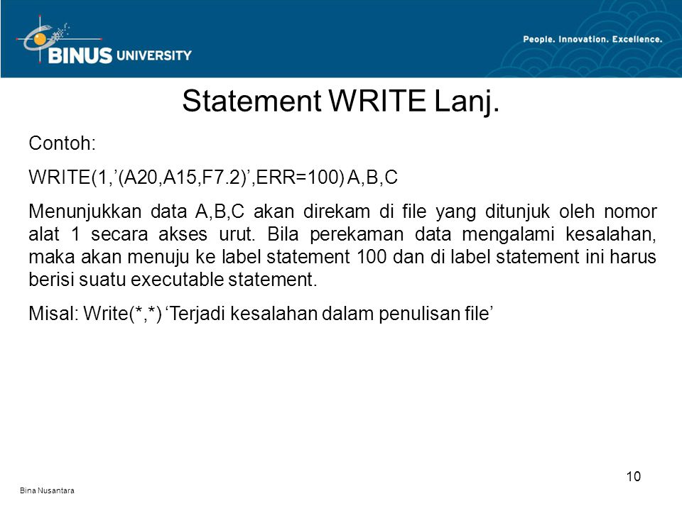 Bina Nusantara Statement WRITE Lanj.