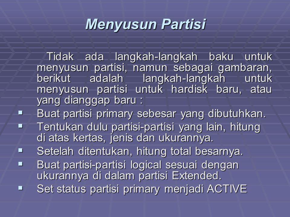 Menyusun Partisi Tidak ada langkah-langkah baku untuk menyusun partisi, namun sebagai gambaran, berikut adalah langkah-langkah untuk menyusun partisi