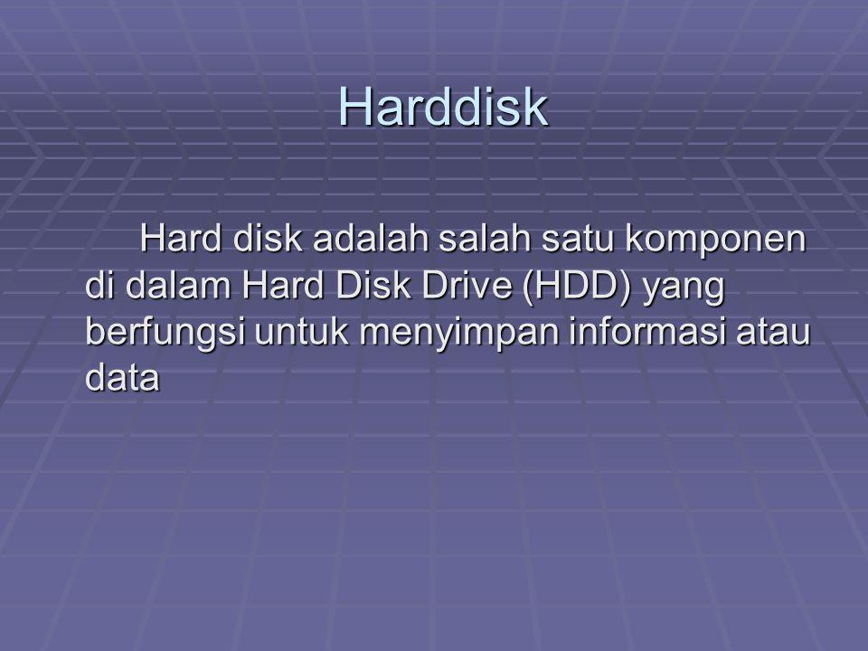 Harddisk Hard disk adalah salah satu komponen di dalam Hard Disk Drive (HDD) yang berfungsi untuk menyimpan informasi atau data