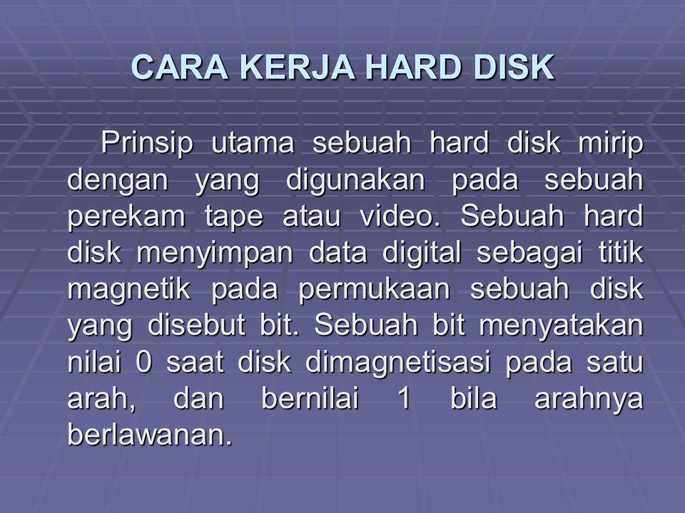 CARA KERJA HARD DISK Prinsip utama sebuah hard disk mirip dengan yang digunakan pada sebuah perekam tape atau video. Sebuah hard disk menyimpan data d