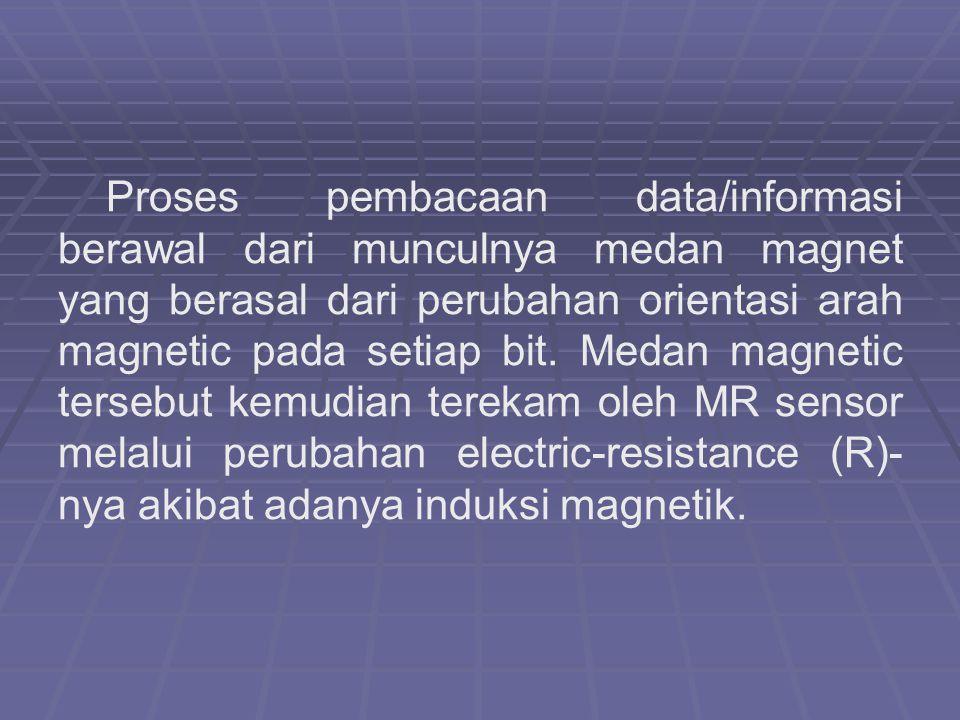Proses pembacaan data/informasi berawal dari munculnya medan magnet yang berasal dari perubahan orientasi arah magnetic pada setiap bit. Medan magneti