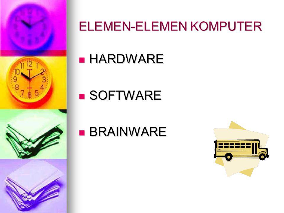 ELEMEN-ELEMEN KOMPUTER  HARDWARE  SOFTWARE  BRAINWARE