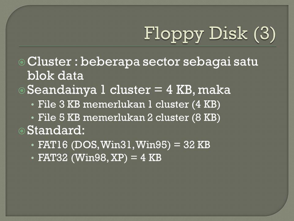  Cluster : beberapa sector sebagai satu blok data  Seandainya 1 cluster = 4 KB, maka • File 3 KB memerlukan 1 cluster (4 KB) • File 5 KB memerlukan