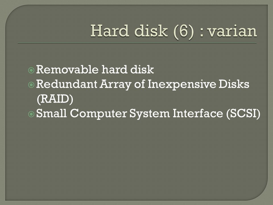  Removable hard disk  Redundant Array of Inexpensive Disks (RAID)  Small Computer System Interface (SCSI)