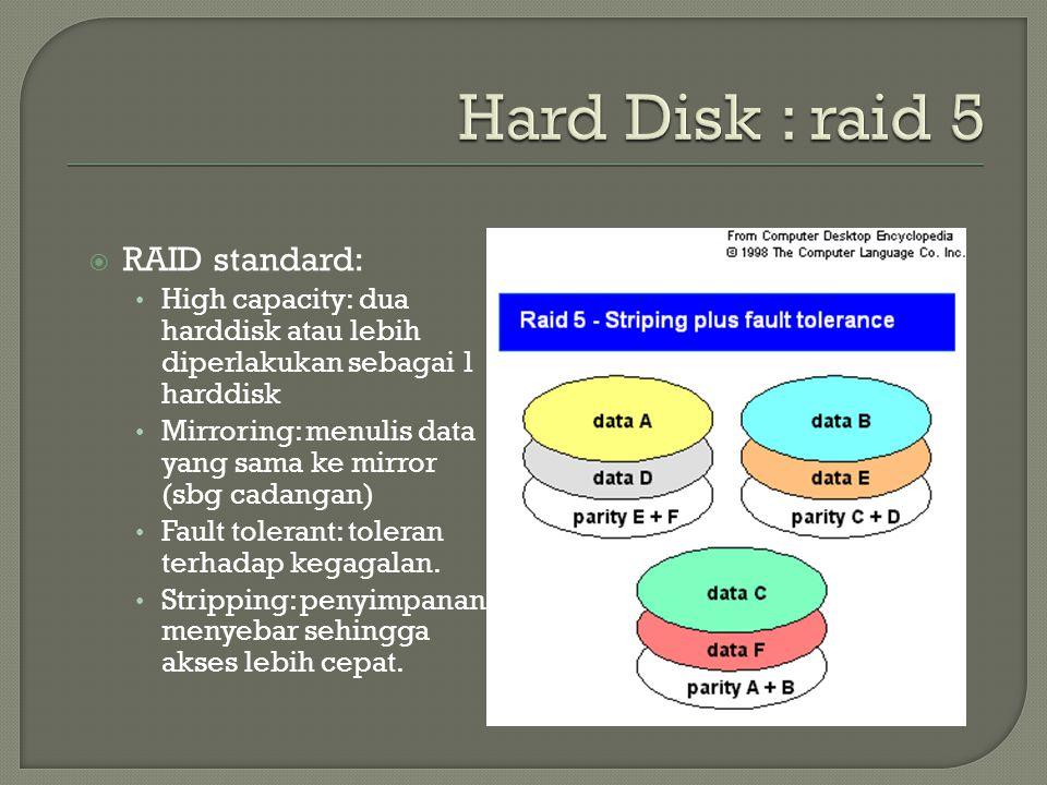  RAID standard: • High capacity: dua harddisk atau lebih diperlakukan sebagai 1 harddisk • Mirroring: menulis data yang sama ke mirror (sbg cadangan) • Fault tolerant: toleran terhadap kegagalan.