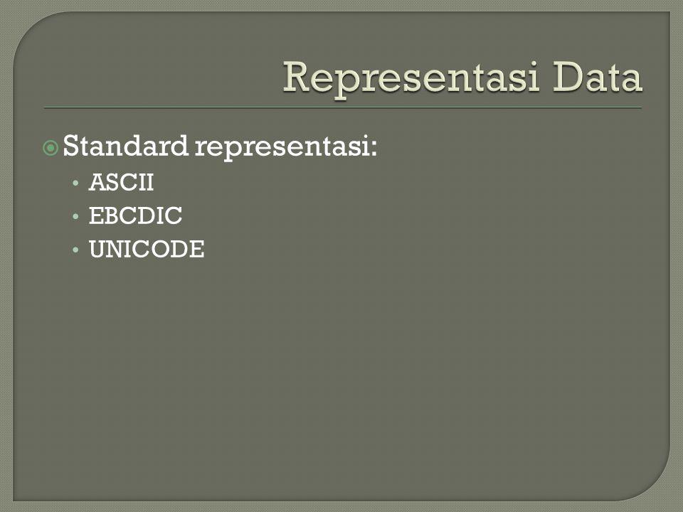  Standard representasi: • ASCII • EBCDIC • UNICODE