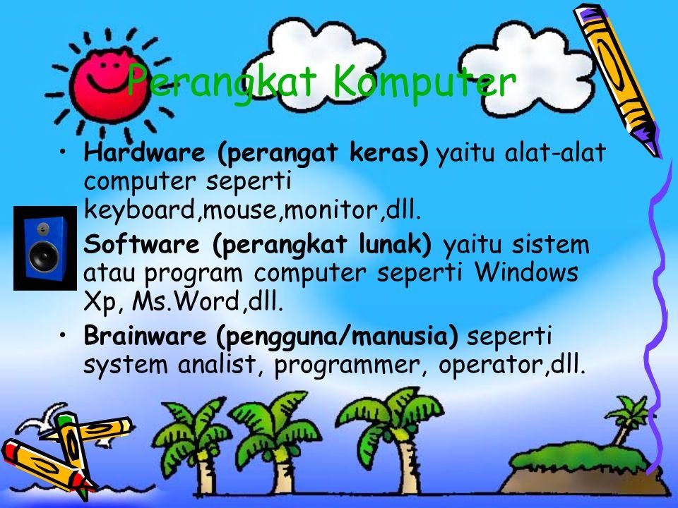 Perangkat Komputer •Hardware (perangat keras) yaitu alat-alat computer seperti keyboard,mouse,monitor,dll. •Software (perangkat lunak) yaitu sistem at