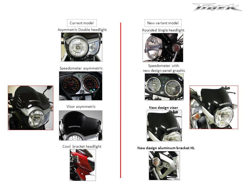 Asymmetric Double headlight Rounded Single headlight Speedometer asymmetric Speedometer with new design panel graphic Visor asymmetric New design visor Cowl bracket headlight New design aluminum bracket HL Current model New variant model
