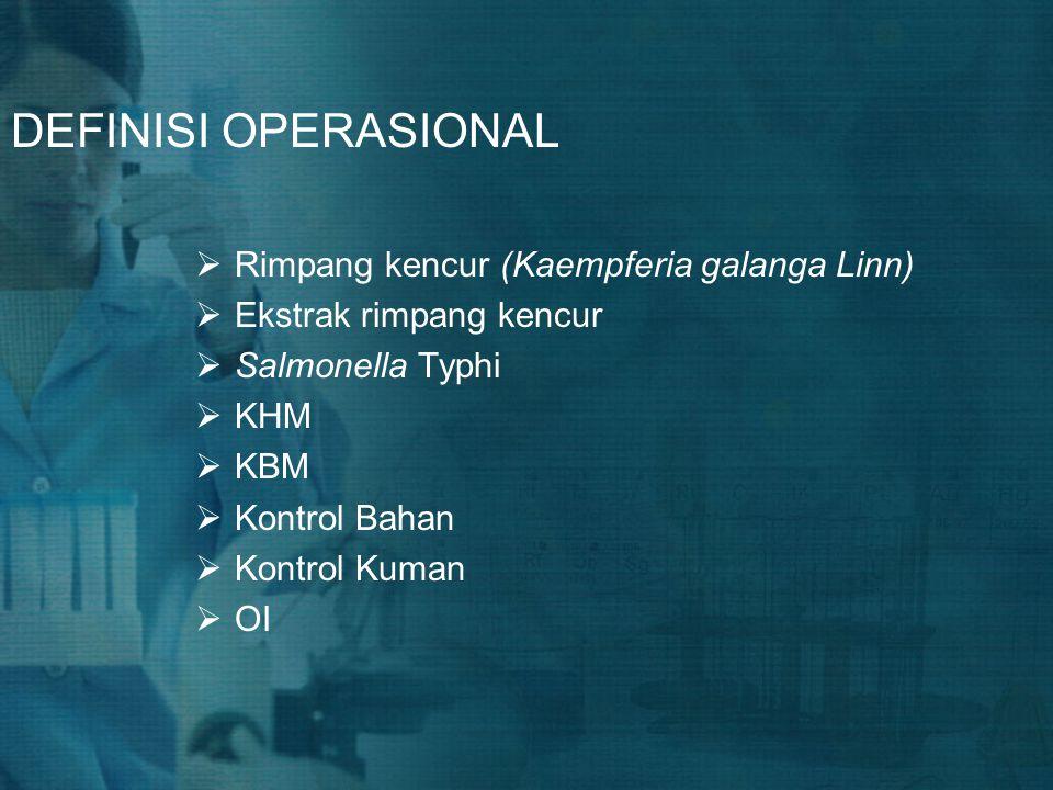 DEFINISI OPERASIONAL  Rimpang kencur (Kaempferia galanga Linn)  Ekstrak rimpang kencur  Salmonella Typhi  KHM  KBM  Kontrol Bahan  Kontrol Kuma