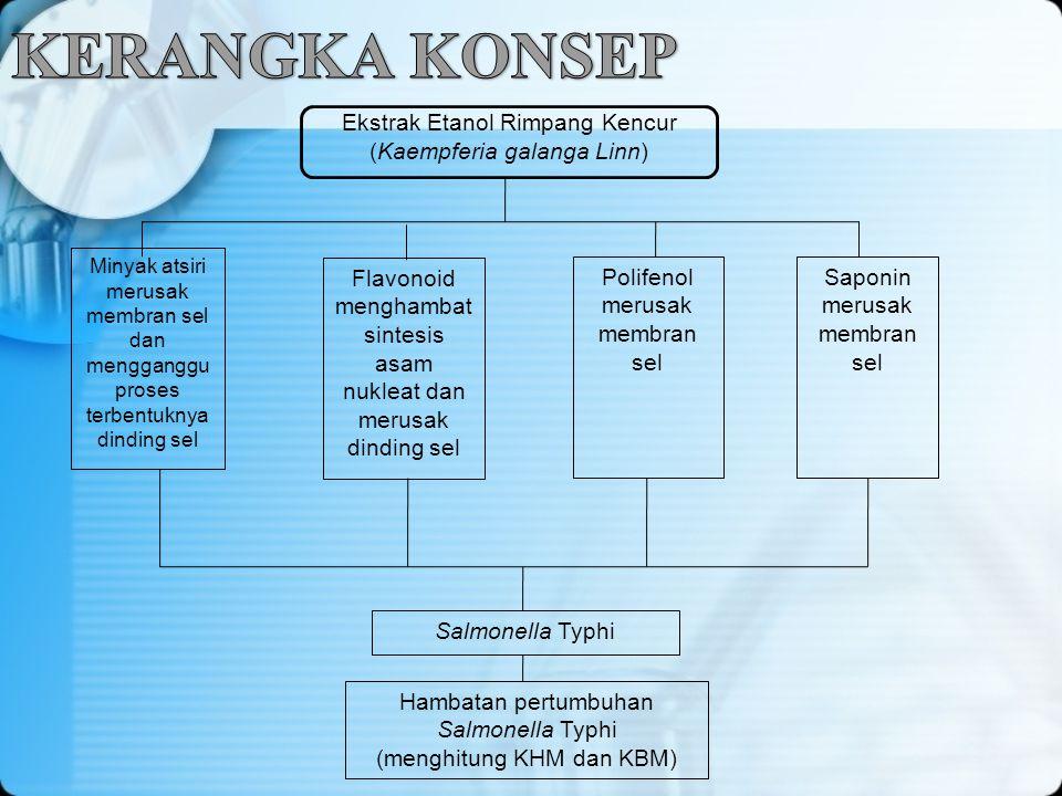 Ekstrak Etanol Rimpang Kencur (Kaempferia galanga Linn) Minyak atsiri merusak membran sel dan mengganggu proses terbentuknya dinding sel Flavonoid men
