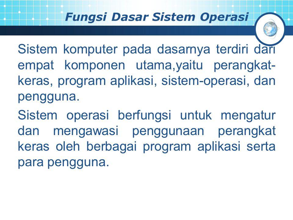 Fungsi Dasar Sistem Operasi Sistem komputer pada dasarnya terdiri dari empat komponen utama,yaitu perangkat- keras, program aplikasi, sistem-operasi, dan pengguna.