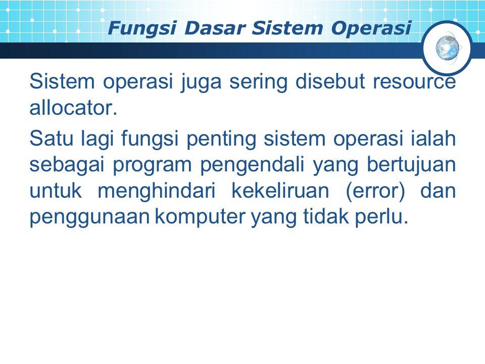 Fungsi Dasar Sistem Operasi Sistem operasi juga sering disebut resource allocator. Satu lagi fungsi penting sistem operasi ialah sebagai program penge