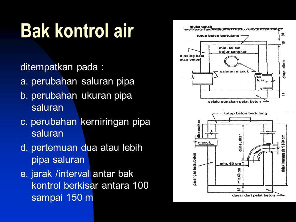 Bak kontrol air ditempatkan pada : a. perubahan saluran pipa b. perubahan ukuran pipa saluran c. perubahan kerniringan pipa saluran d. pertemuan dua a