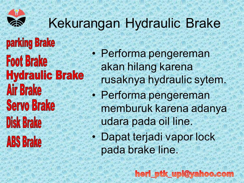 Kekurangan Hydraulic Brake •Performa pengereman akan hilang karena rusaknya hydraulic sytem. •Performa pengereman memburuk karena adanya udara pada oi