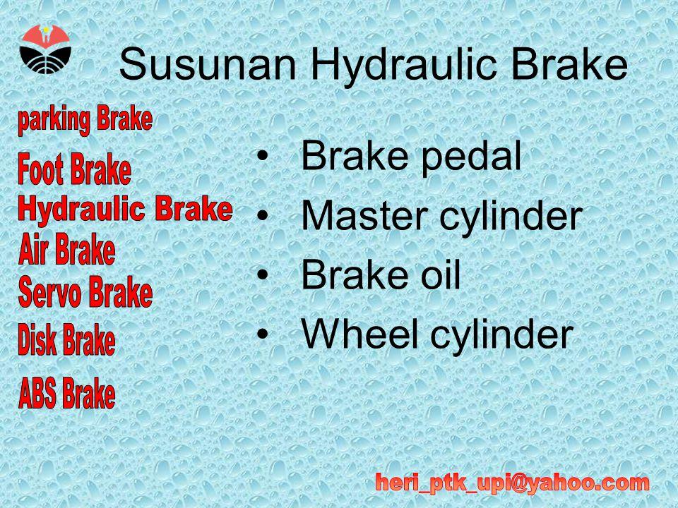 Operasi Hydraulic Brake •Master cylinder menghasilkan tekanan hydraulic ketika brake pedal ditekan, sehingga meneruskan tekanan dari pedal menjadi tekanan hydraulic minyak rem utuk menggerakan sepatu rem (pada model rem tromol) atau menekan pada piringan rem (pada model rem piringan).