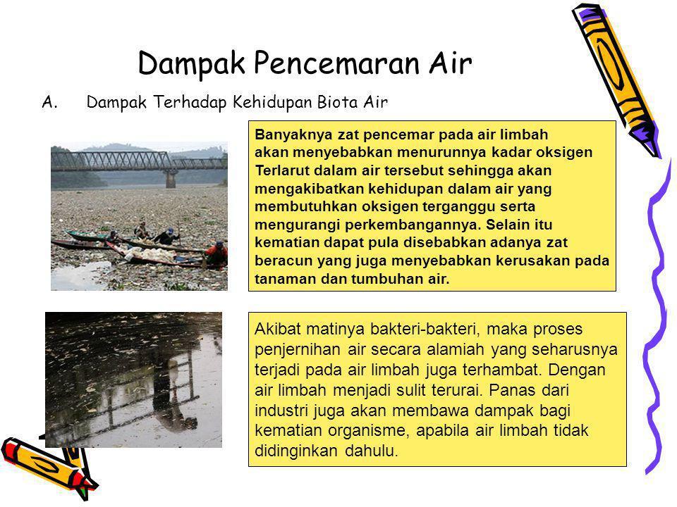 Dampak Pencemaran Air A.Dampak Terhadap Kehidupan Biota Air Banyaknya zat pencemar pada air limbah akan menyebabkan menurunnya kadar oksigen Terlarut