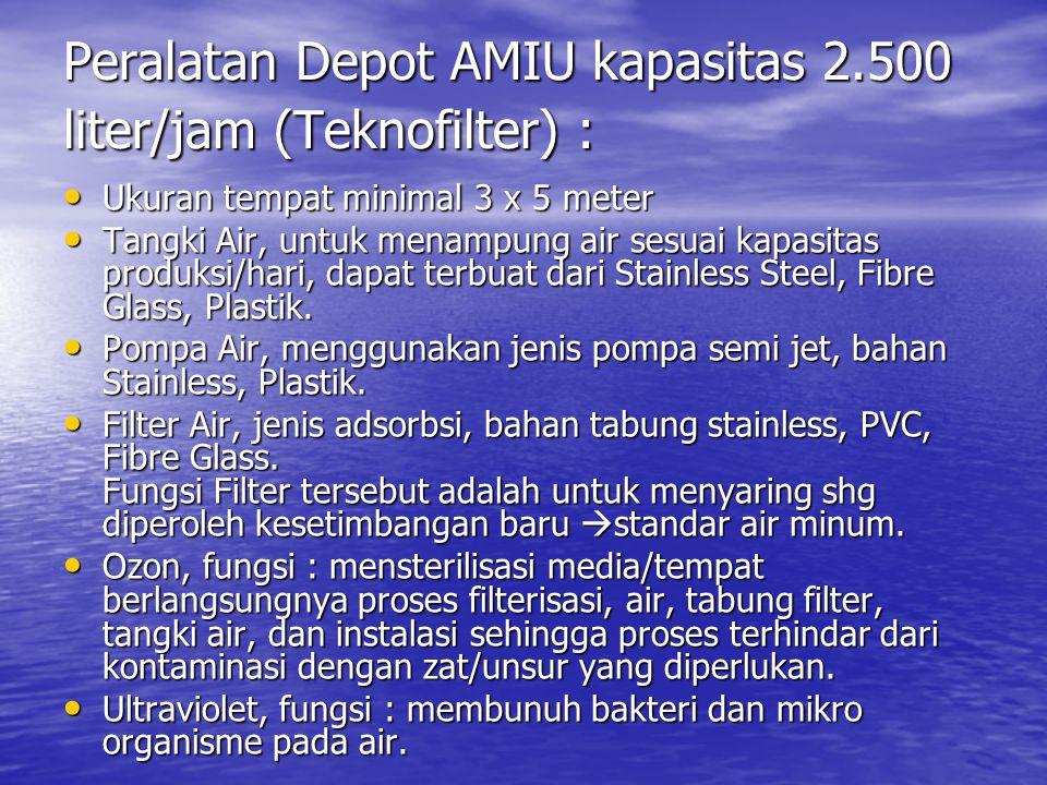 Peralatan Depot AMIU kapasitas 2.500 liter/jam (Teknofilter) : • Ukuran tempat minimal 3 x 5 meter • Tangki Air, untuk menampung air sesuai kapasitas produksi/hari, dapat terbuat dari Stainless Steel, Fibre Glass, Plastik.