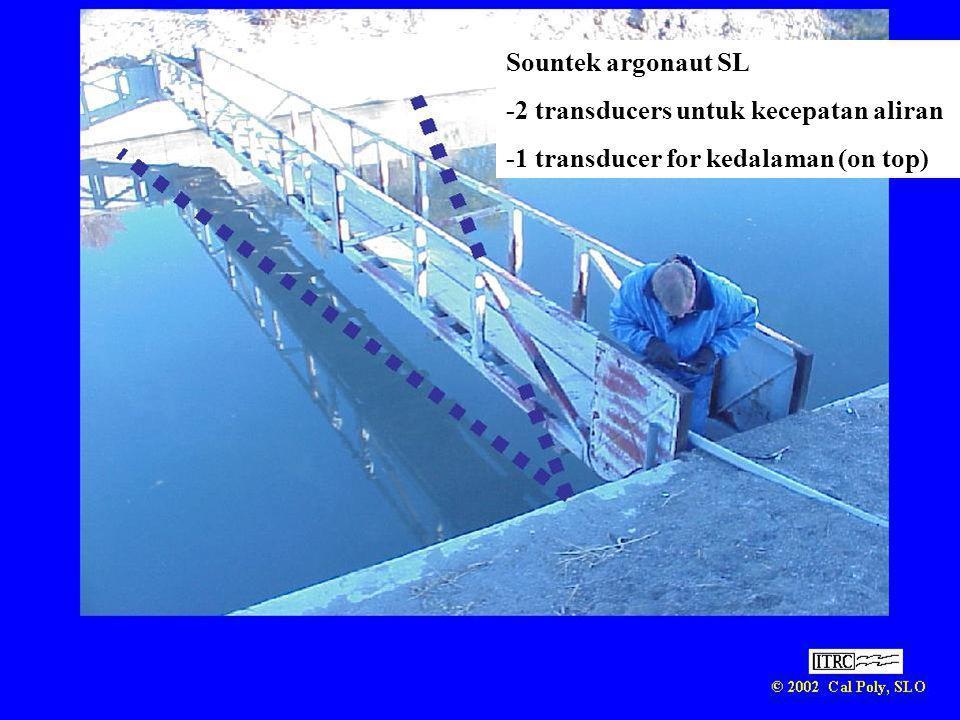 Sountek argonaut SL -2 transducers untuk kecepatan aliran -1 transducer for kedalaman (on top)