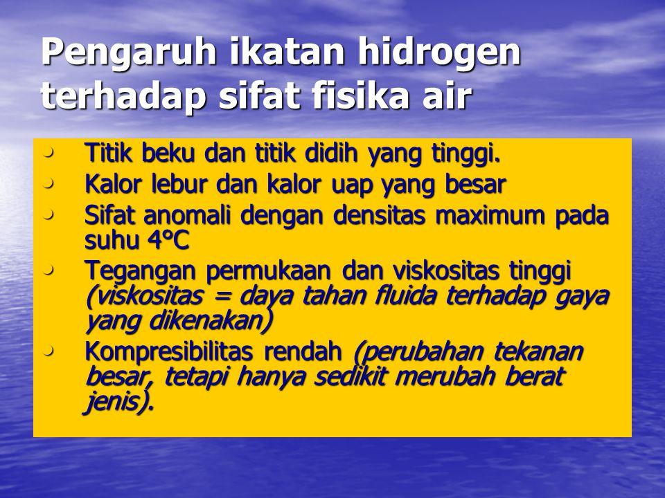 Pengaruh ikatan hidrogen terhadap sifat fisika air • Titik beku dan titik didih yang tinggi.