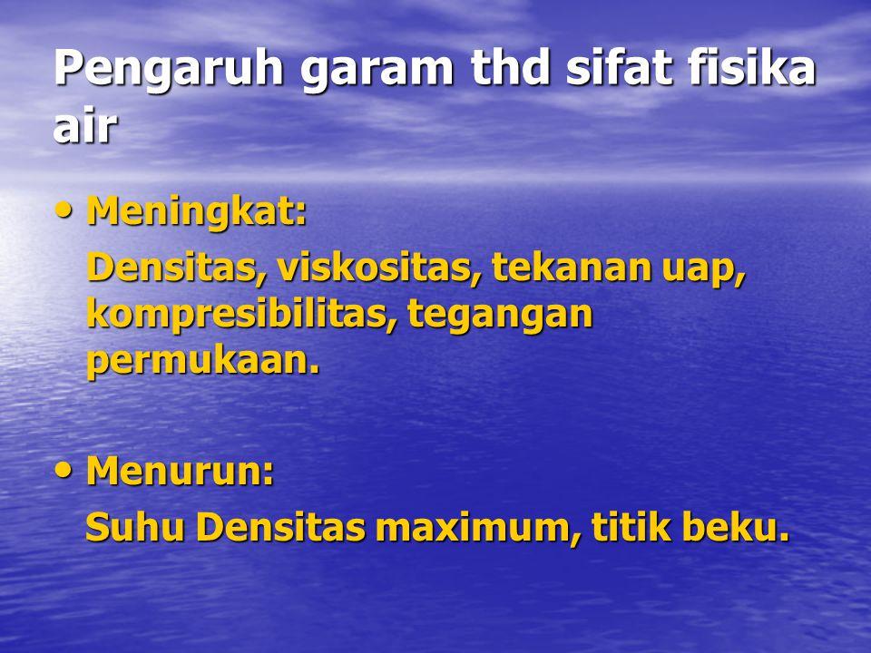 Pengaruh garam thd sifat fisika air • Meningkat: Densitas, viskositas, tekanan uap, kompresibilitas, tegangan permukaan.
