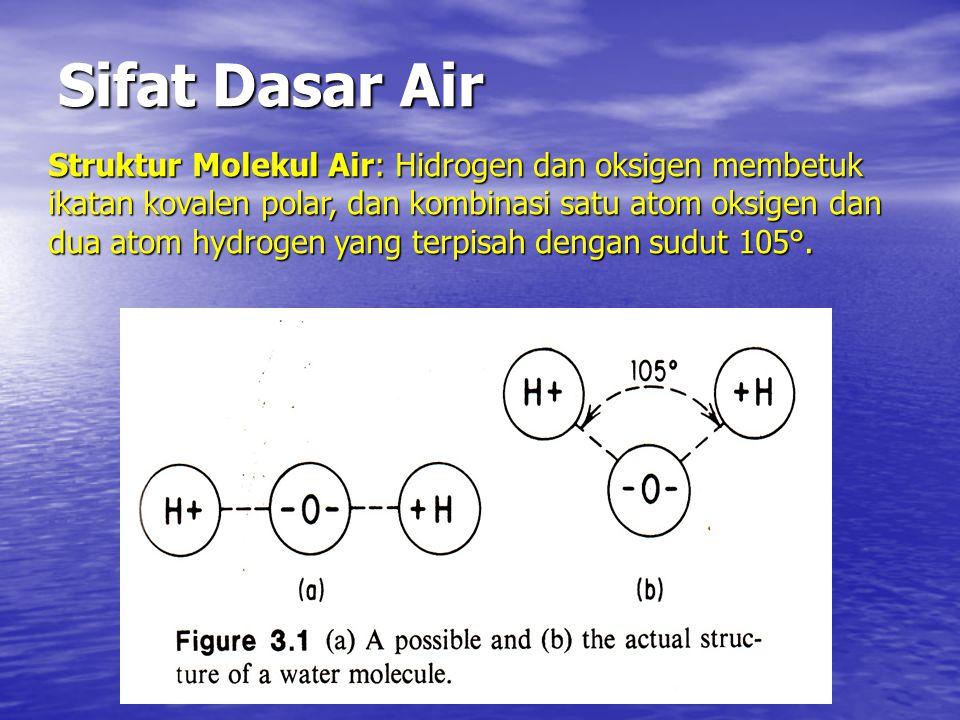 Sifat Dasar Air Struktur Molekul Air: Hidrogen dan oksigen membetuk ikatan kovalen polar, dan kombinasi satu atom oksigen dan dua atom hydrogen yang terpisah dengan sudut 105°.