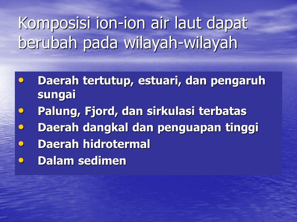 Komposisi ion-ion air laut dapat berubah pada wilayah-wilayah • Daerah tertutup, estuari, dan pengaruh sungai • Palung, Fjord, dan sirkulasi terbatas • Daerah dangkal dan penguapan tinggi • Daerah hidrotermal • Dalam sedimen