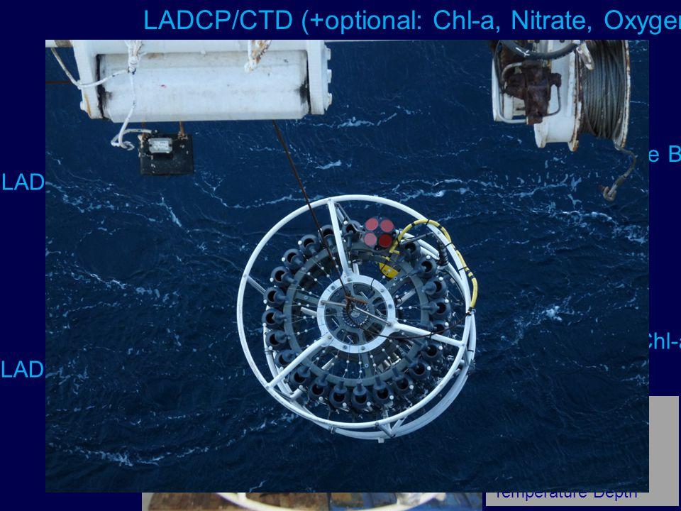 asalod 24 Rossette Bottles CTD-O-Nitrate-Chl-a Sensors LADCP: Looker upward LADCP: Looker downward LADCP/CTD (+optional: Chl-a, Nitrate, Oxygen,) LADCP: Lowerred Acoustic Doppler Current Profiler CTD: Conductivity Temperature Depth