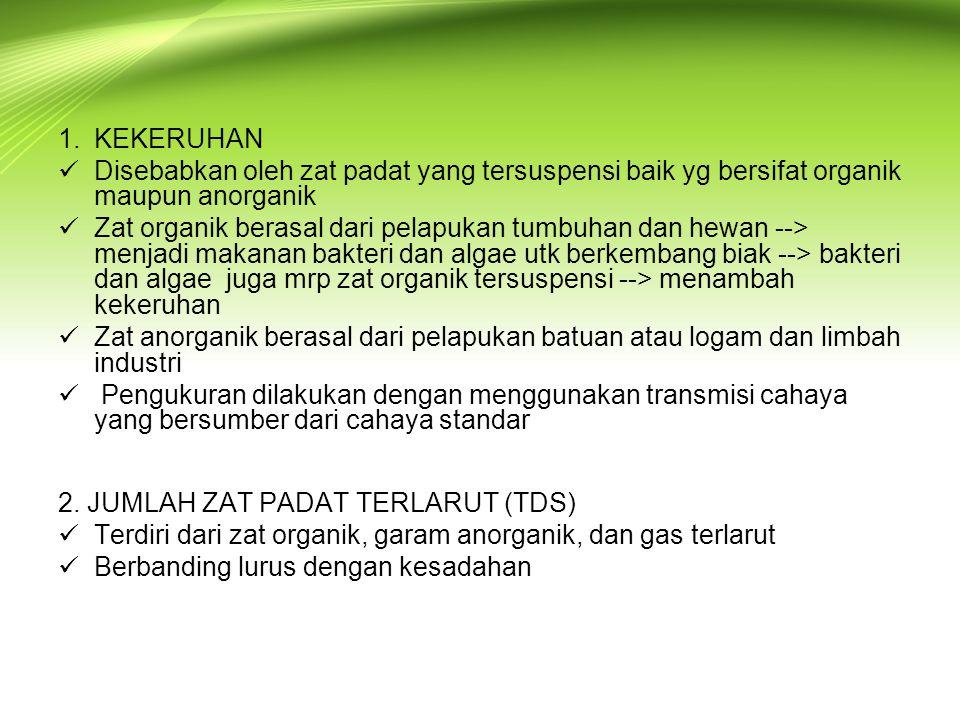 1.KEKERUHAN  Disebabkan oleh zat padat yang tersuspensi baik yg bersifat organik maupun anorganik  Zat organik berasal dari pelapukan tumbuhan dan h