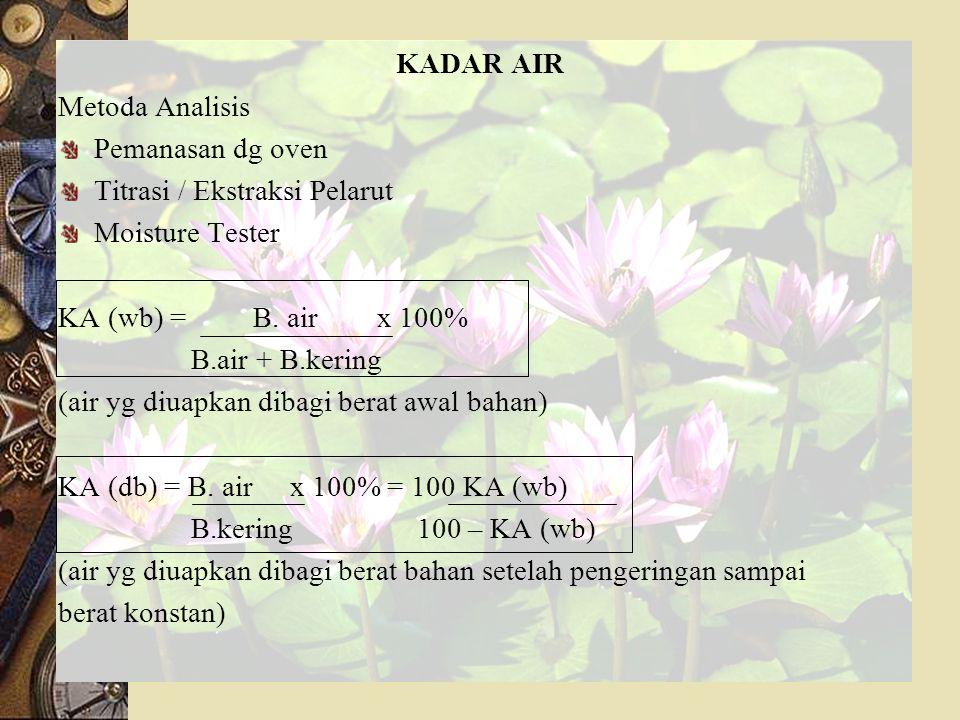 KADAR AIR Metoda Analisis Pemanasan dg oven Titrasi / Ekstraksi Pelarut Moisture Tester KA (wb) = B.
