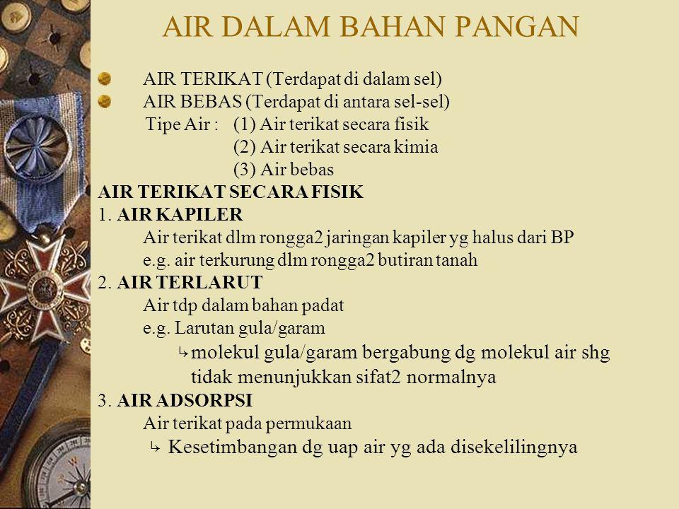 AIR DALAM BAHAN PANGAN AIR TERIKAT (Terdapat di dalam sel) AIR BEBAS (Terdapat di antara sel-sel) Tipe Air : (1) Air terikat secara fisik (2) Air terikat secara kimia (3) Air bebas AIR TERIKAT SECARA FISIK 1.