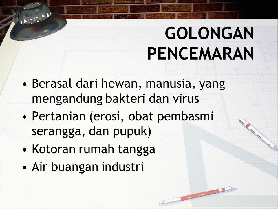 GOLONGAN PENCEMARAN •Berasal dari hewan, manusia, yang mengandung bakteri dan virus •Pertanian (erosi, obat pembasmi serangga, dan pupuk) •Kotoran rumah tangga •Air buangan industri