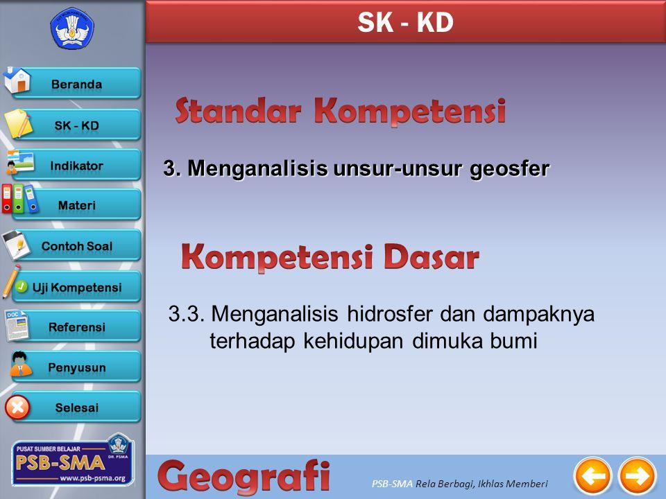 PSB-SMA Rela Berbagi, Ikhlas Memberi 3.Menganalisis unsur-unsur geosfer SK - KD 3.3.