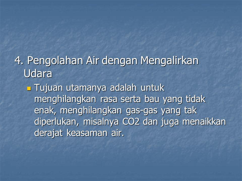 4. Pengolahan Air dengan Mengalirkan Udara  Tujuan utamanya adalah untuk menghilangkan rasa serta bau yang tidak enak, menghilangkan gas-gas yang tak