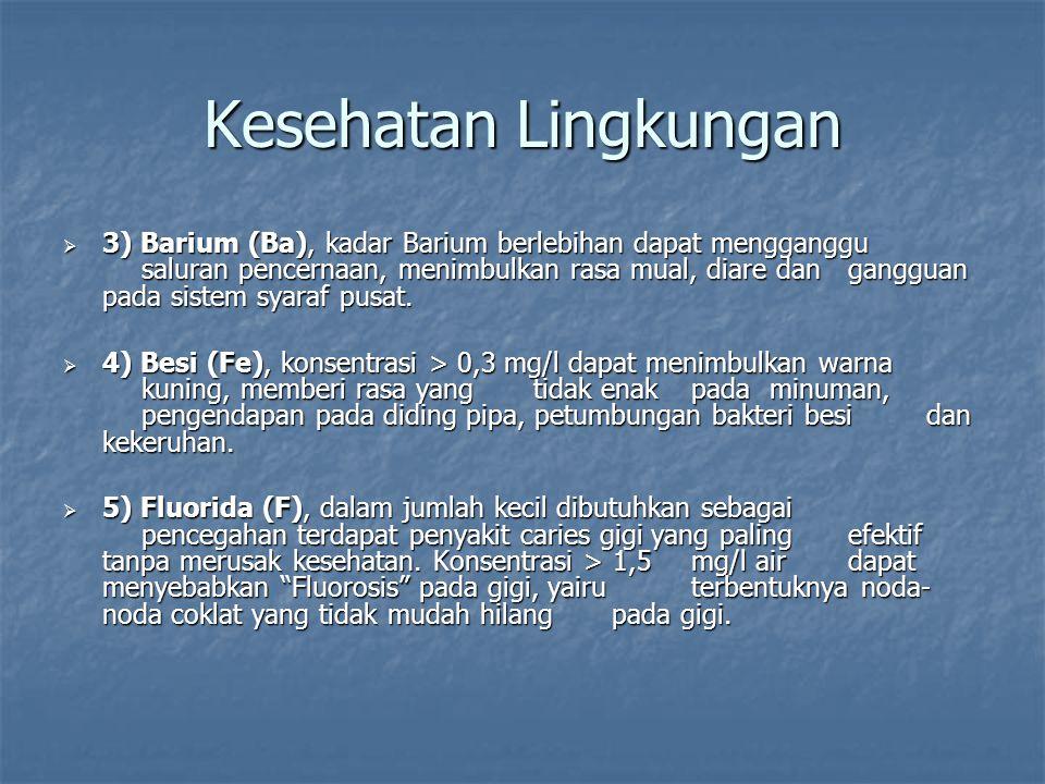  3) Barium (Ba), kadar Barium berlebihan dapat mengganggu saluran pencernaan, menimbulkan rasa mual, diare dan gangguan pada sistem syaraf pusat.  4