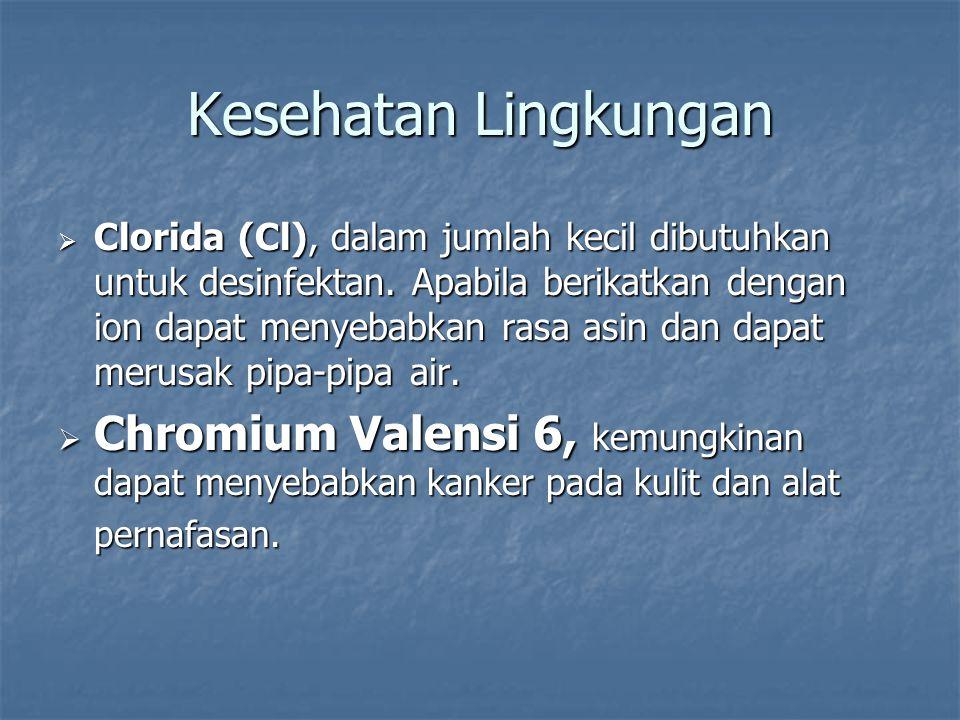  Clorida (Cl), dalam jumlah kecil dibutuhkan untuk desinfektan. Apabila berikatkan dengan ion dapat menyebabkan rasa asin dan dapat merusak pipa-pipa