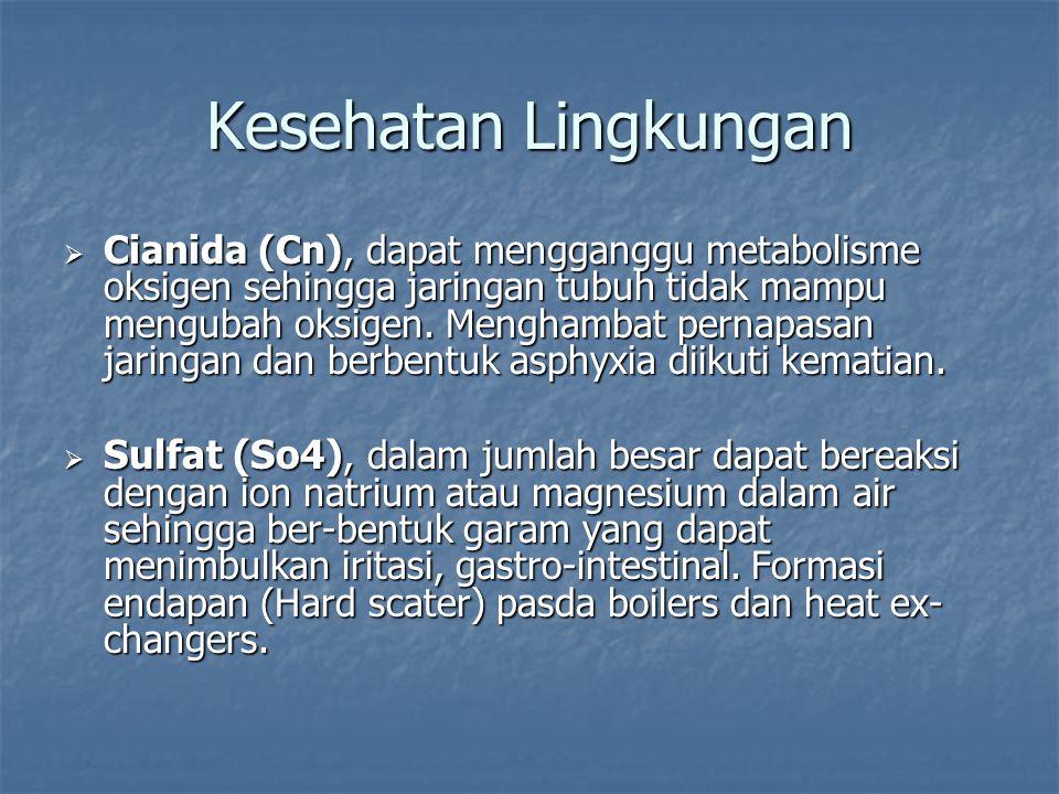  Cianida (Cn), dapat mengganggu metabolisme oksigen sehingga jaringan tubuh tidak mampu mengubah oksigen. Menghambat pernapasan jaringan dan berbentu