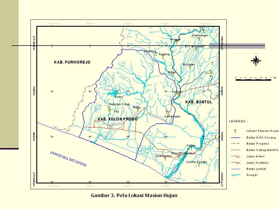 Data Hujan  Data hujan harian dikumpulkan dari stasiun-stasiun yang terdapat dalam SWS Serang dan sekitarnya. Gambar 3 menunjukkan lokasi stasiun huj