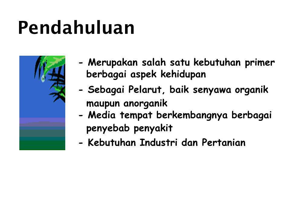 Lanjutan Kebutuhan air : •Tahun 2000 naik 32,7 % dibanding thn 1980 (4.899 x 10 6 m 3 ), terbesar di Jawa & Madura (3.164 x 10 6 m 3 ) Kebutuhan air irigasi : •Meningkat 57,5 % (tahun2000) dibanding pada tahun 1980 (24.206,3 x 10 6 m 3 ), terbesar di Jawa dan Madura (8.767,6 x 10 6 m 3 ) Kebutuhan untuk Industri : •Meningkat 70,1 % (2000) dibanding pd tahun 1980 (143,7 x 10 6 m 3 ) Kondisi aliran air permukaan di Indonesia adalah 2.881.292 10 6 m 3/ tahun, aliran yang tersedia rata-rata sebesar 25 -35 % dari jumlah total (702.824 x 10 6 m 3 )