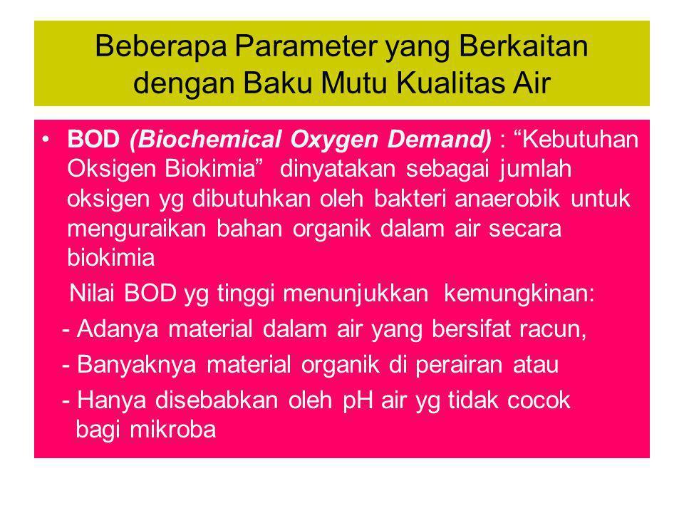 """Beberapa Parameter yang Berkaitan dengan Baku Mutu Kualitas Air •BOD (Biochemical Oxygen Demand) : """"Kebutuhan Oksigen Biokimia"""" dinyatakan sebagai jum"""