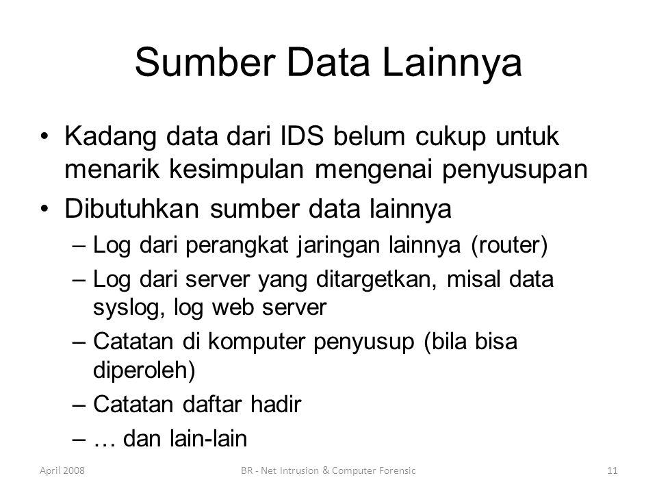 Sumber Data Lainnya •Kadang data dari IDS belum cukup untuk menarik kesimpulan mengenai penyusupan •Dibutuhkan sumber data lainnya –Log dari perangkat