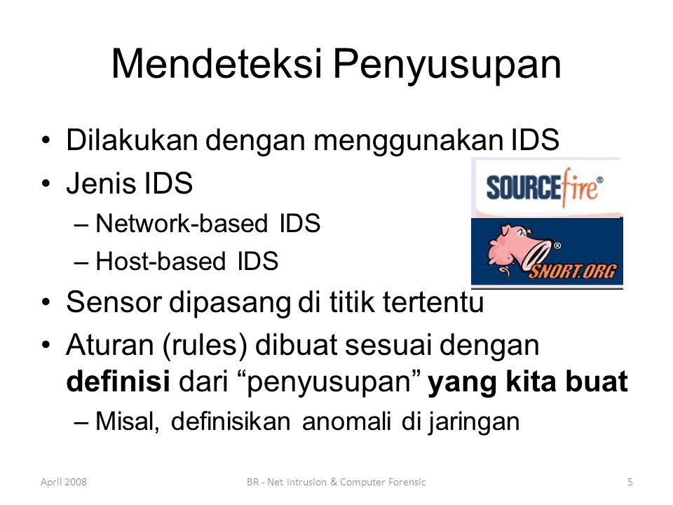 Mendeteksi Penyusupan •Dilakukan dengan menggunakan IDS •Jenis IDS –Network-based IDS –Host-based IDS •Sensor dipasang di titik tertentu •Aturan (rule