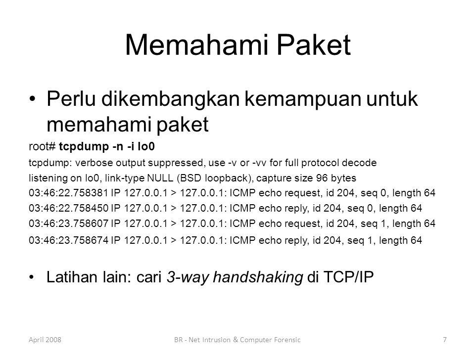 Memahami Paket •Perlu dikembangkan kemampuan untuk memahami paket root# tcpdump -n -i lo0 tcpdump: verbose output suppressed, use -v or -vv for full p